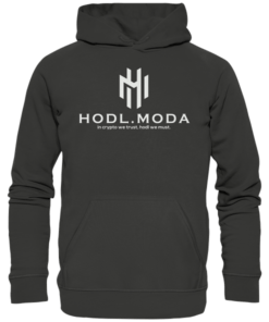 HODL.MODA in crypto we trust light - Unisex Hoodie Charcoal