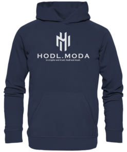 HODL.MODA in crypto we trust light - Unisex Hoodie Navy